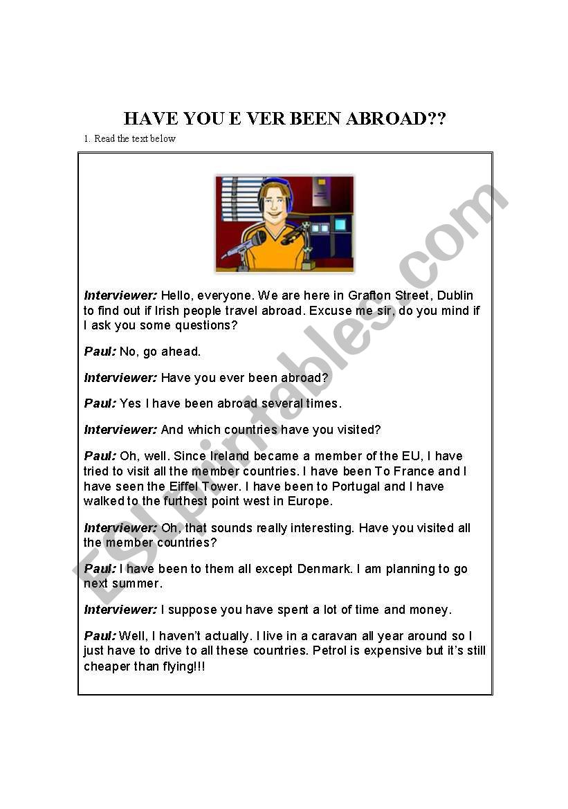 have you ever been abroad? worksheet