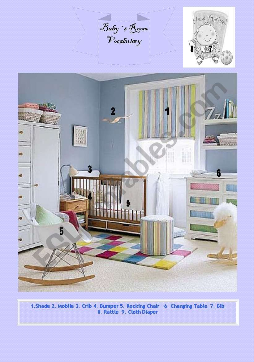 The Baby Room - Vocabulary - ESL Worksheet By Miss Del