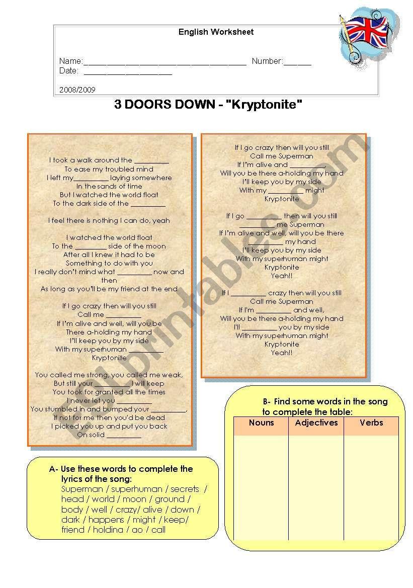 Song: Kryptonite by 3Doors Down - ESL worksheet by Elsa R