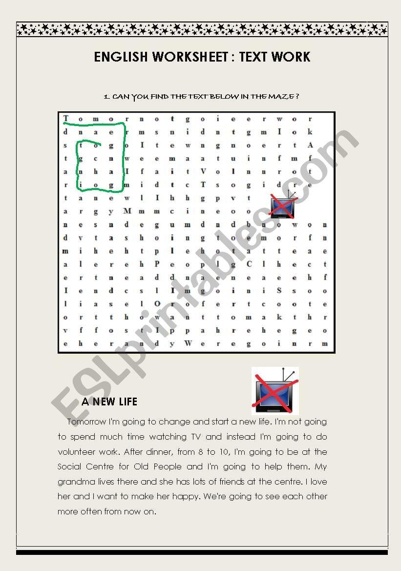 Text Maze: A New Life worksheet