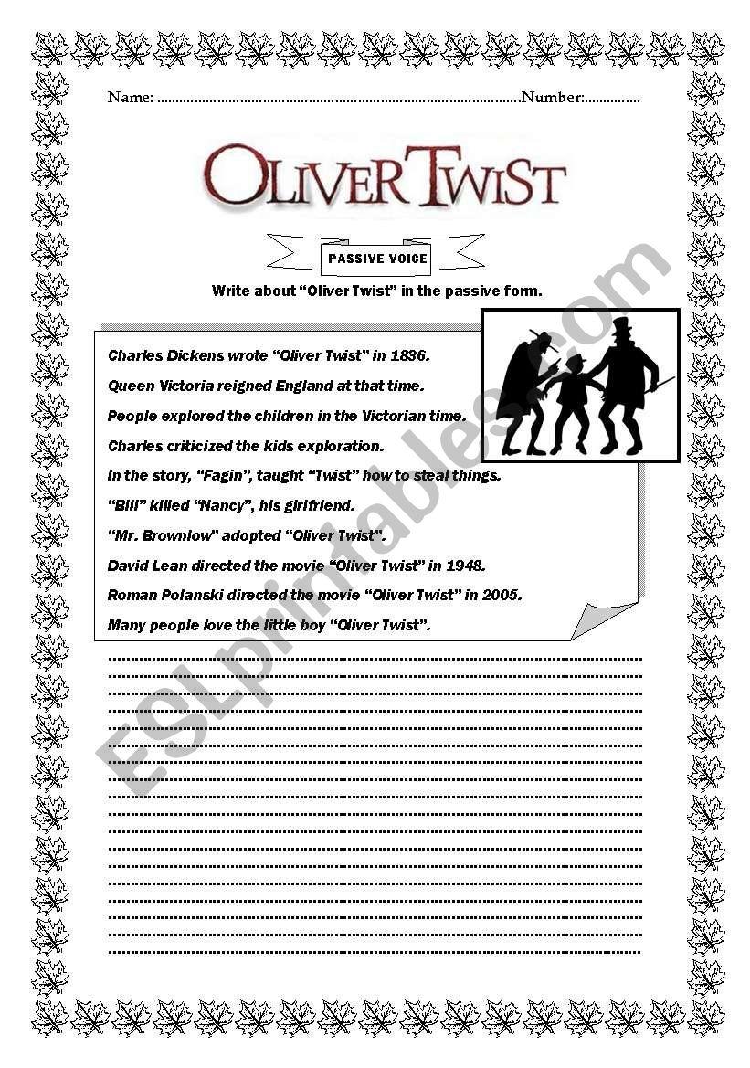 Oliver Twist Passive Voice worksheet