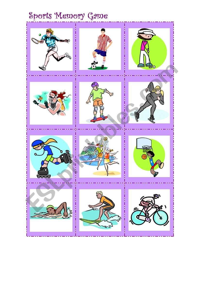 Sports memory game worksheet