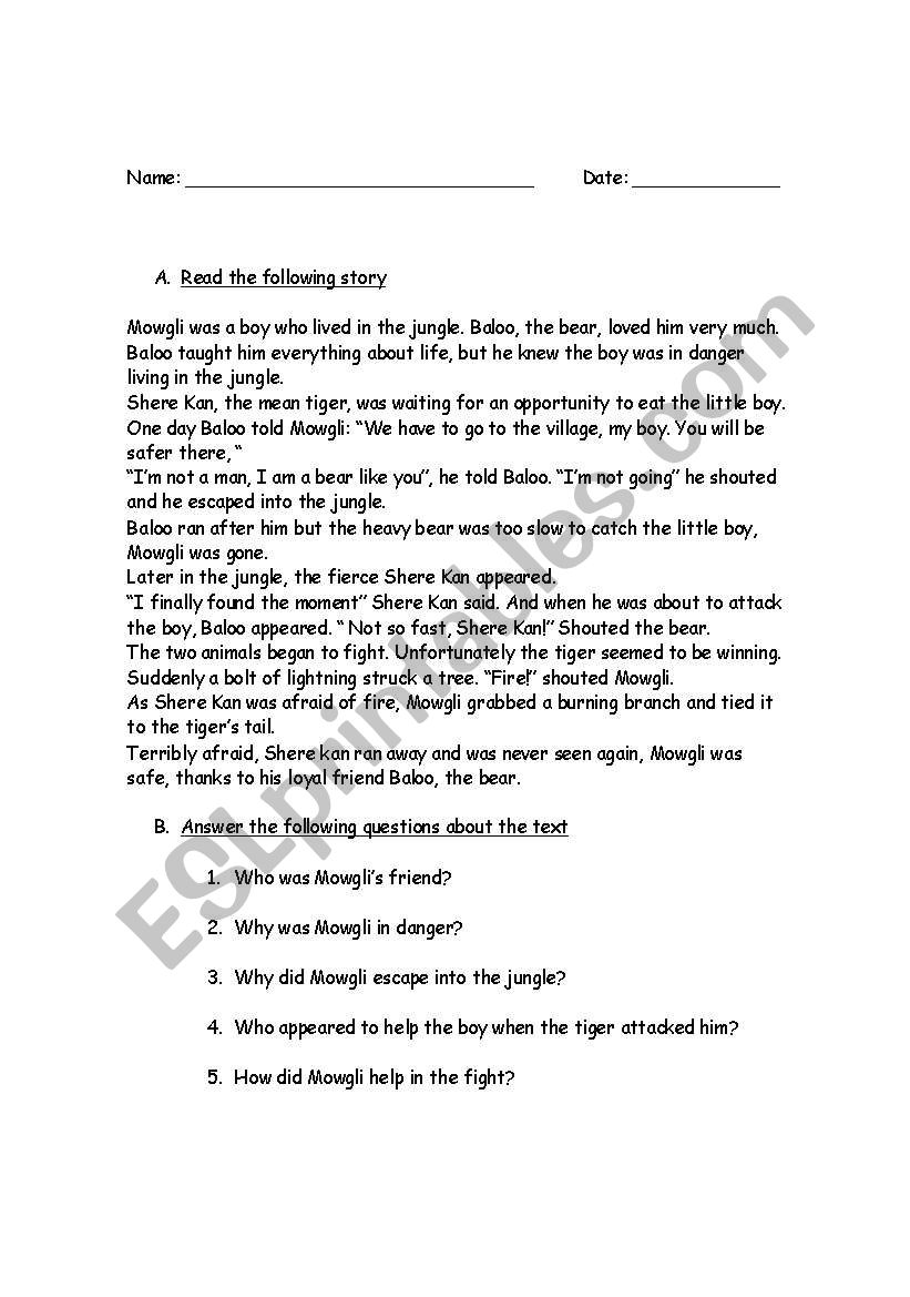 Jungle Book worksheet