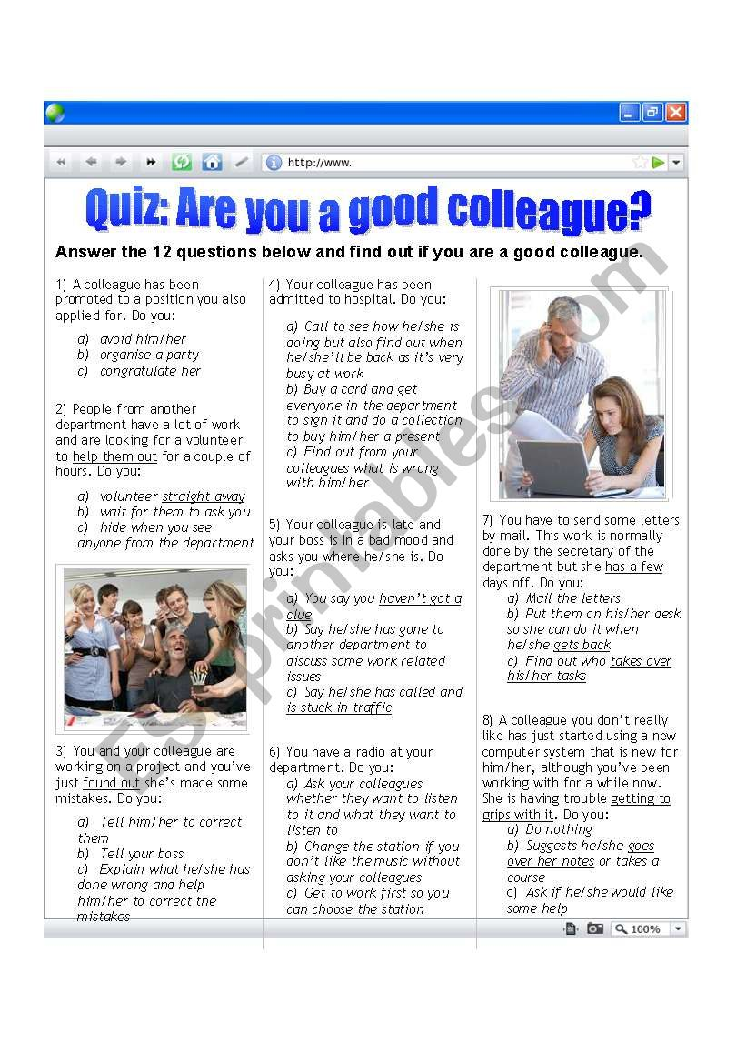 Quiz: Are you a good colleague?