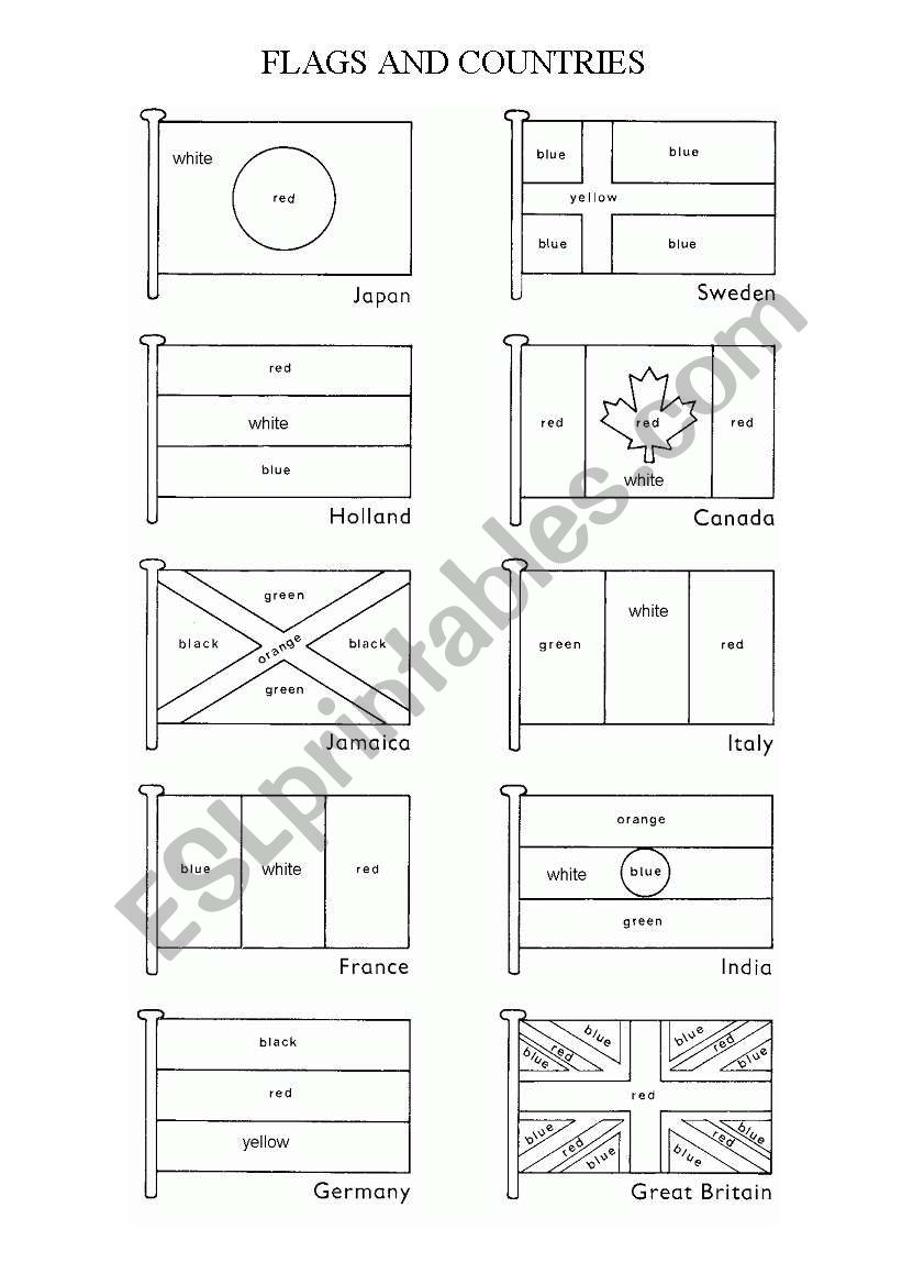FLAGS AND COUNTRIES worksheet