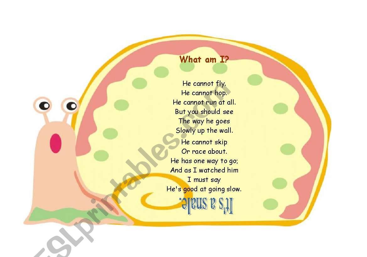 What am I ? Poem worksheet