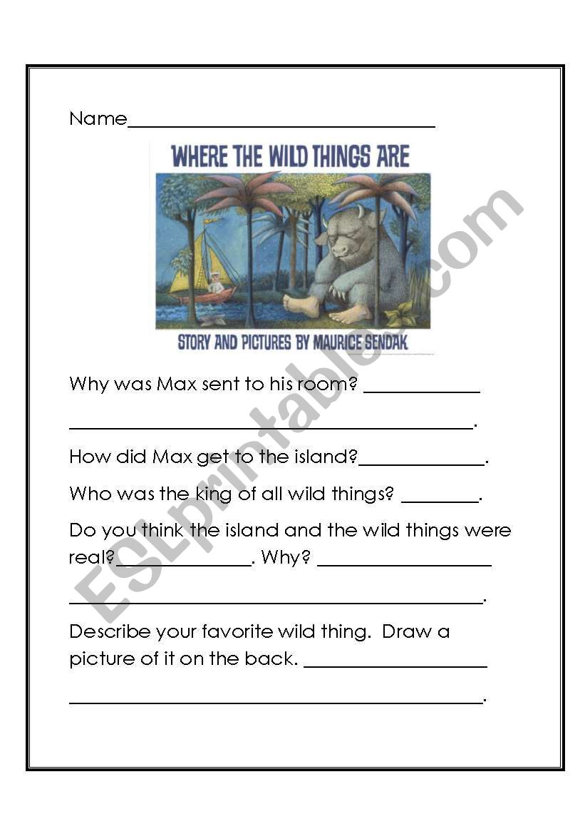 Where the Wild Things Are? worksheet