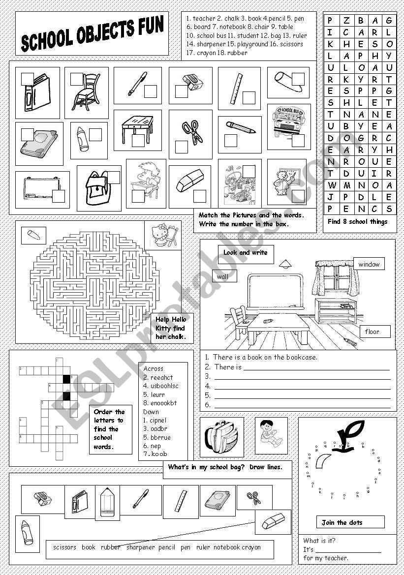 School Objects Fun worksheet