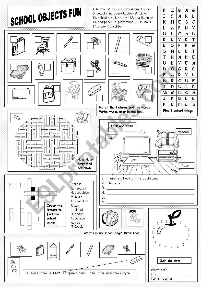 School Objects Fun worksheet