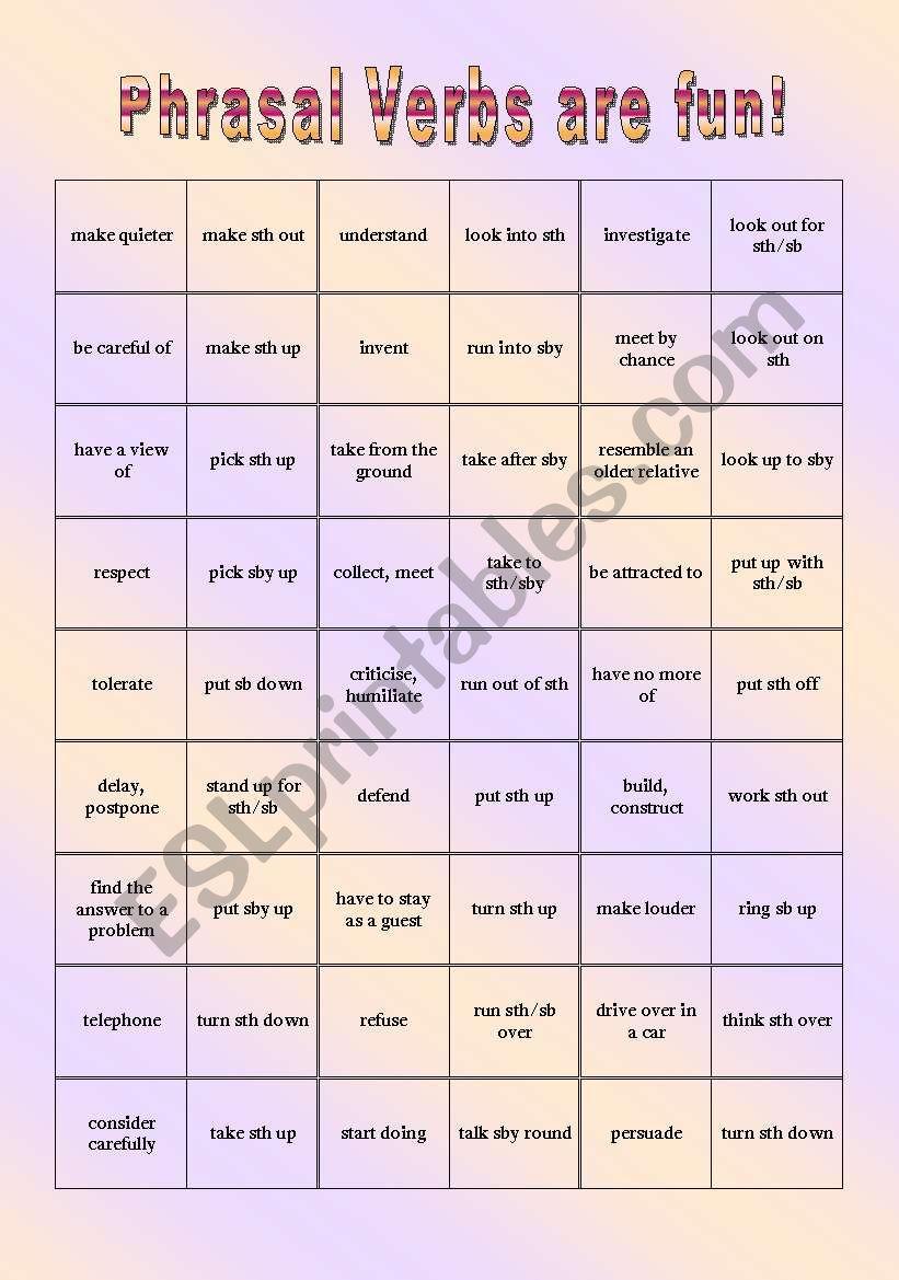 Phrasal Verb Domino worksheet