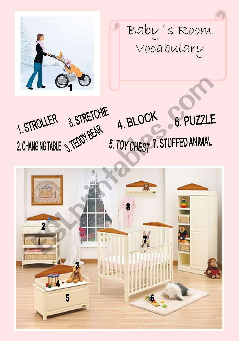 The Baby Room Vocabulary - ESL Worksheet By Miss Del