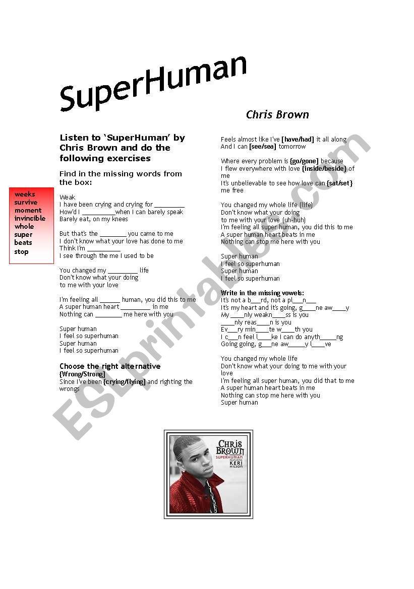 English worksheets: Cris Brown-SuperHuman