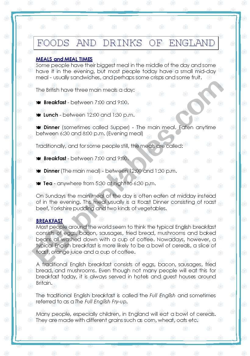 FOOD AND DRINKS IN ENGLAND worksheet