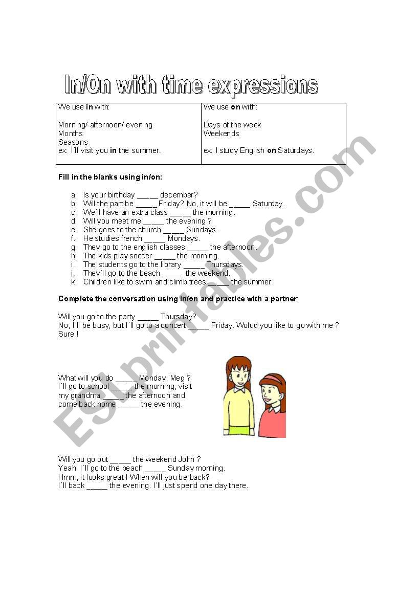 In/On with time expressions worksheet