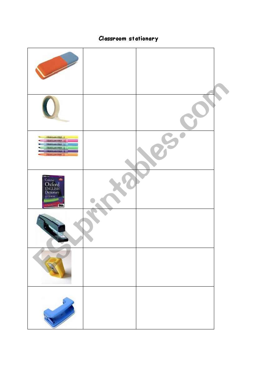 classroom stationary worksheet