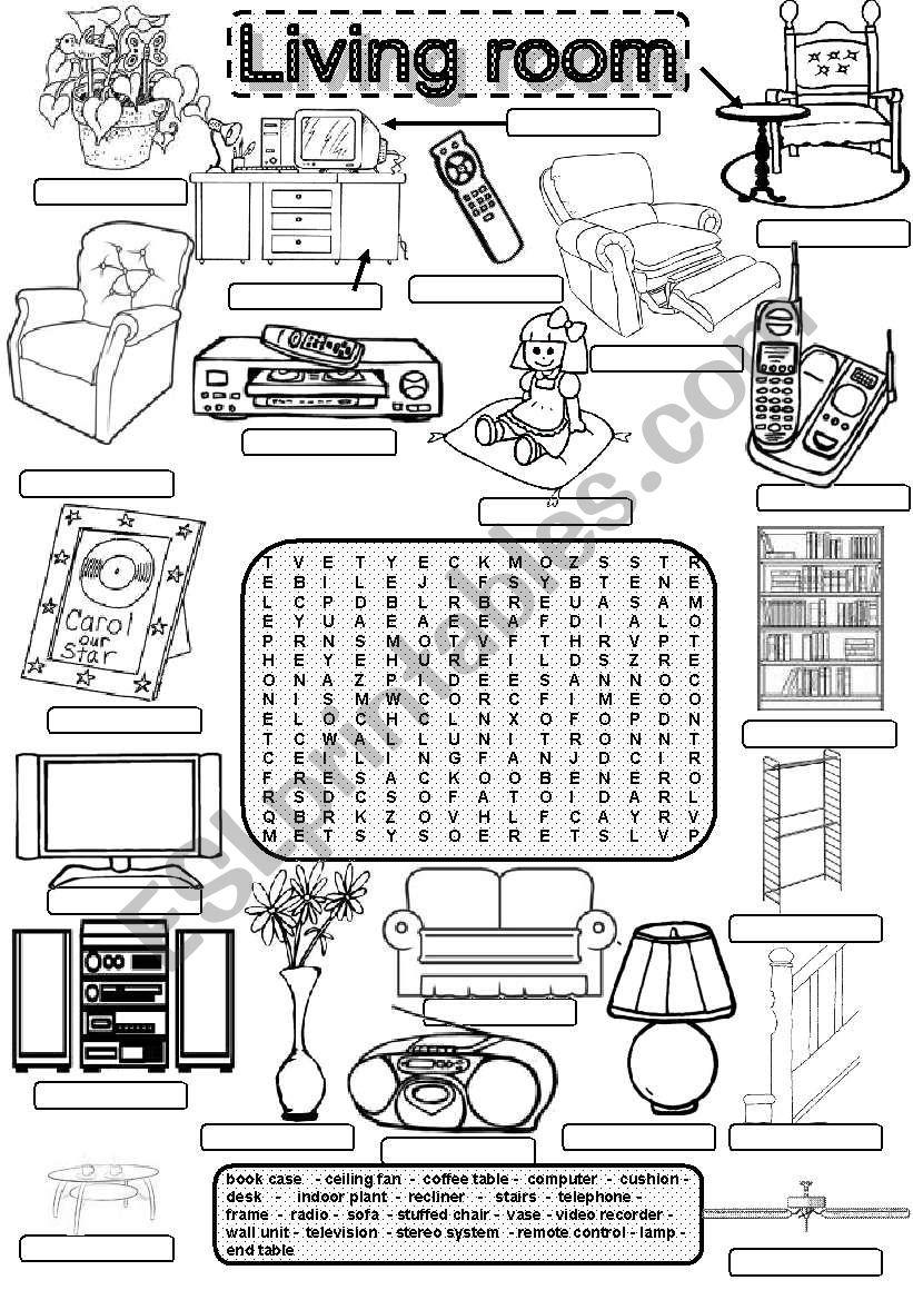 Wordsearch LIVING ROOM worksheet