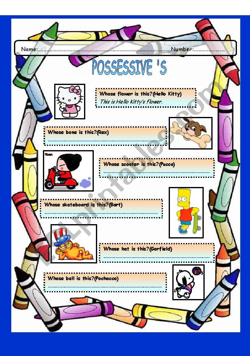 Whose and Possessive ´s worksheet