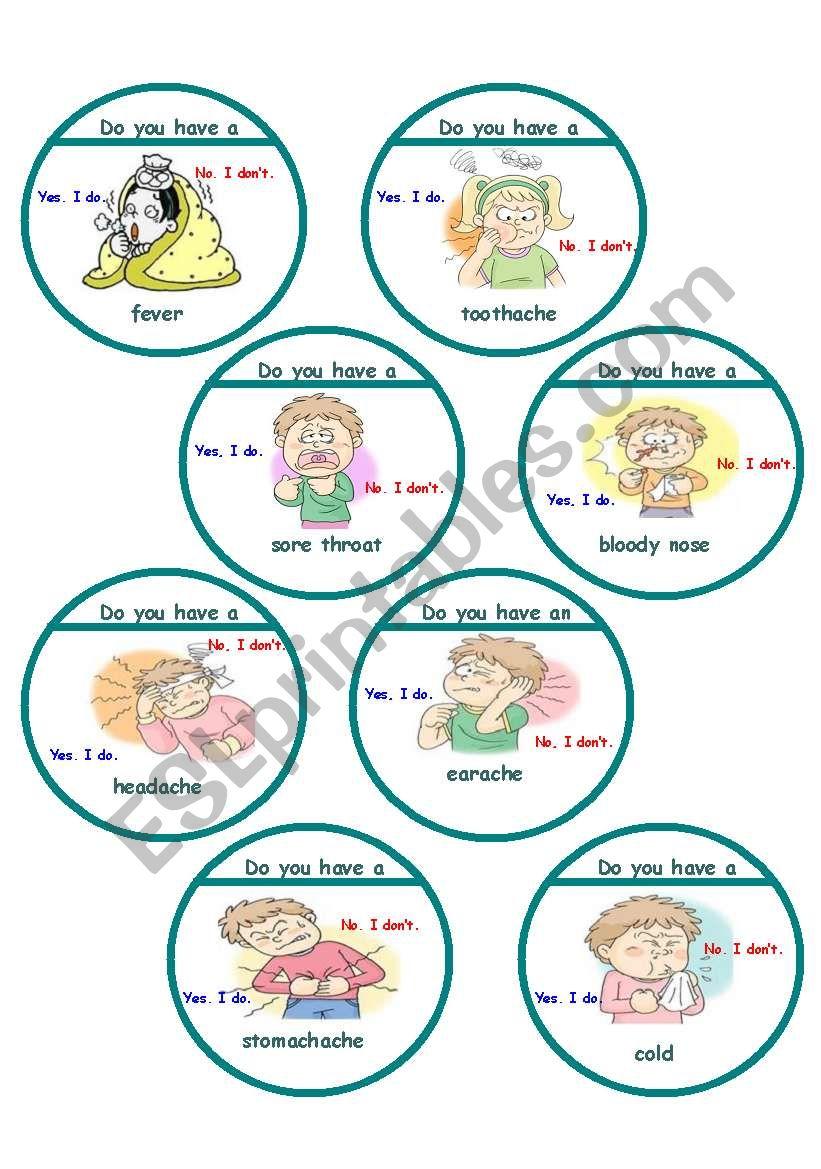 Sicknesses game cards worksheet