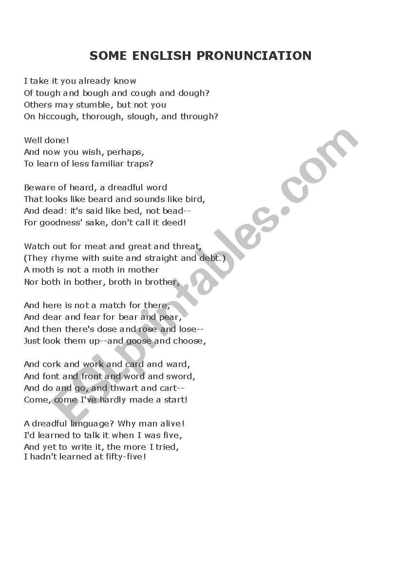 English Pronunciation Poem worksheet