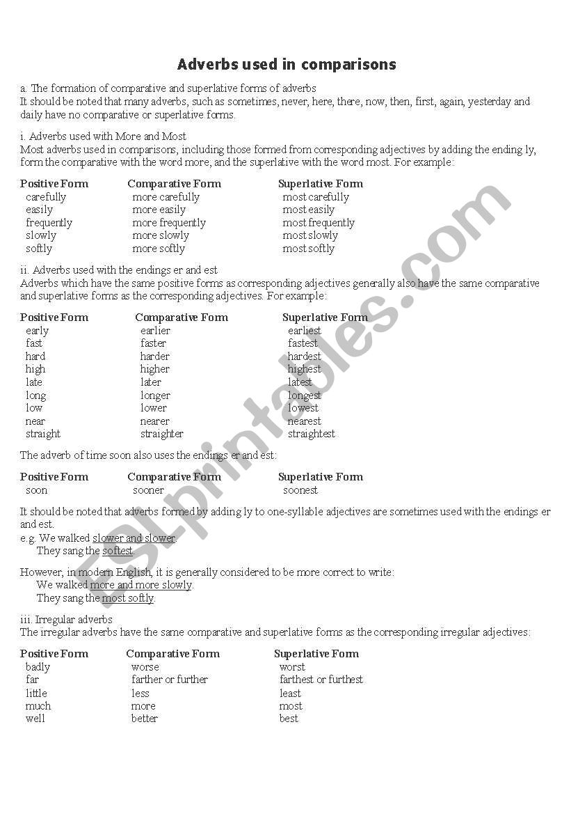 Comparative adverbs worksheet