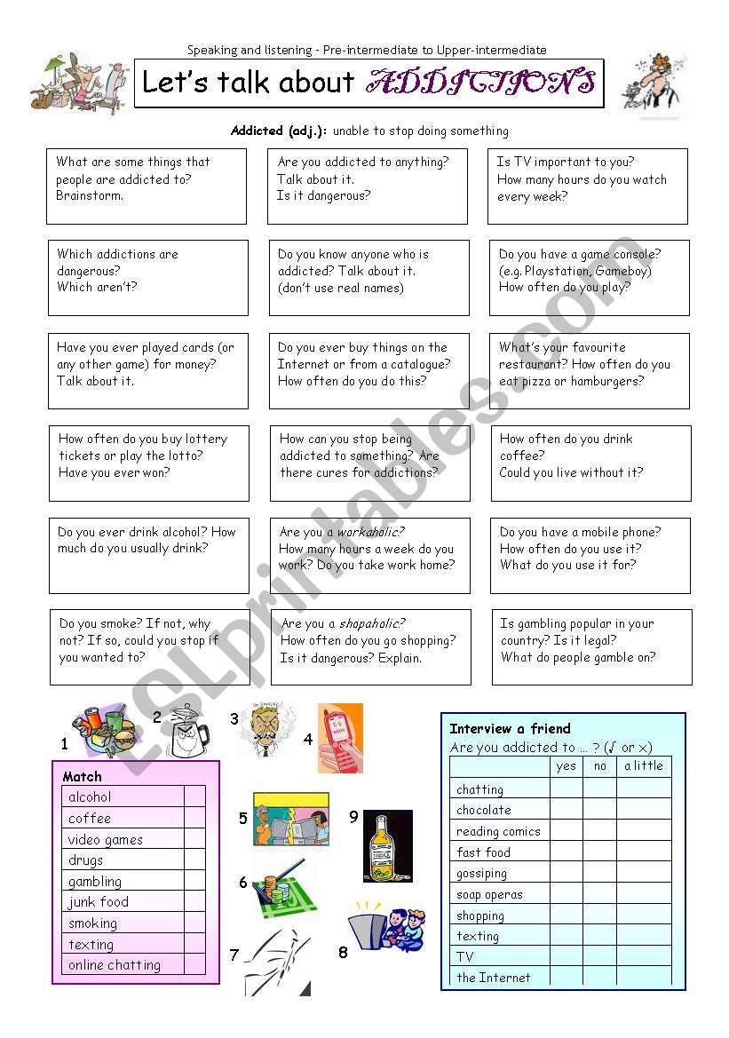 Let´s talk about ADDICTIONS worksheet