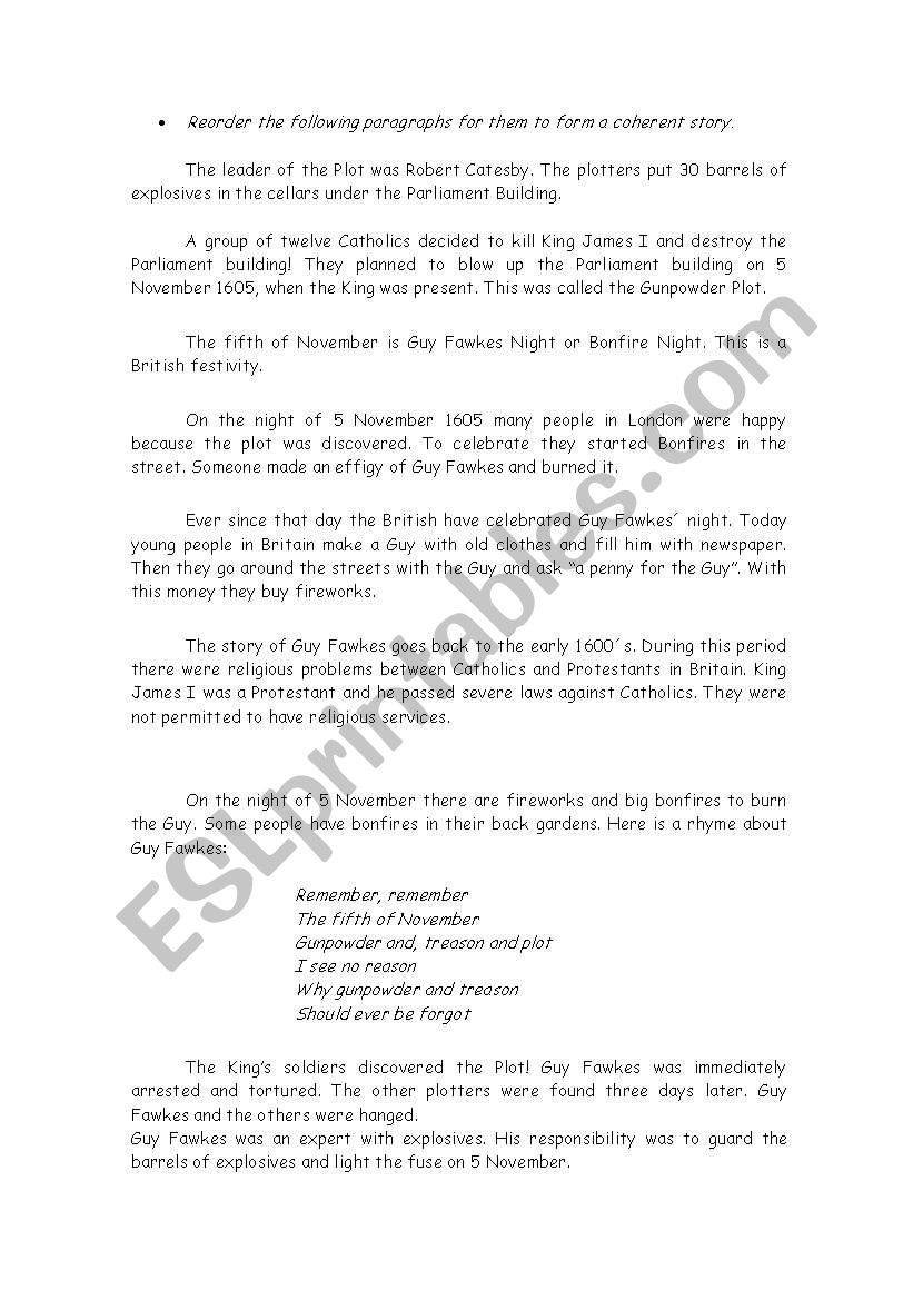 Guy Fawkes day worksheet