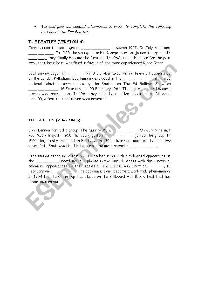 The Beatles worksheet
