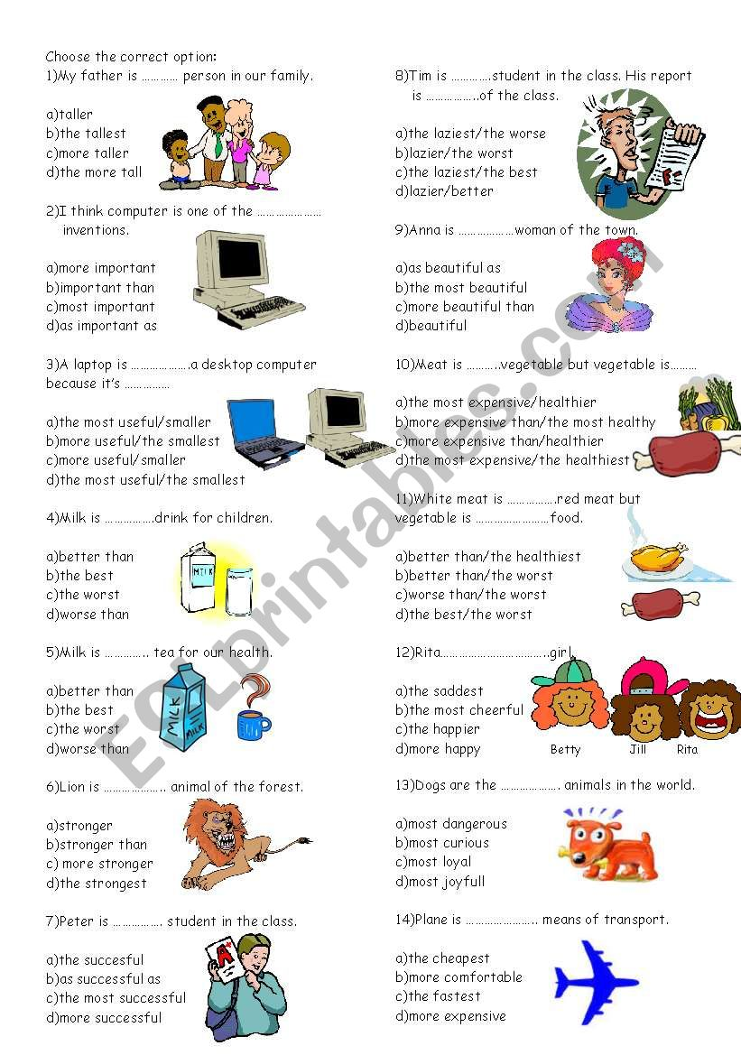 esl comparatives and superlatives exercises pdf