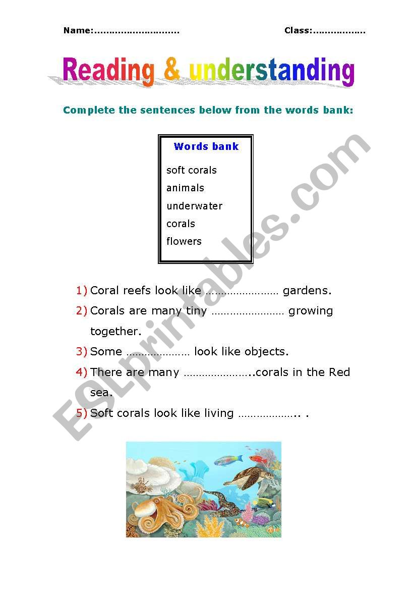 reading and understanding worksheet