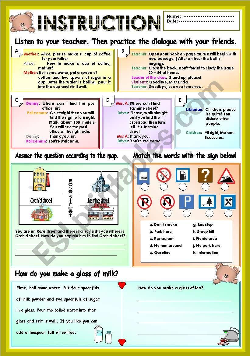 Instruction worksheet