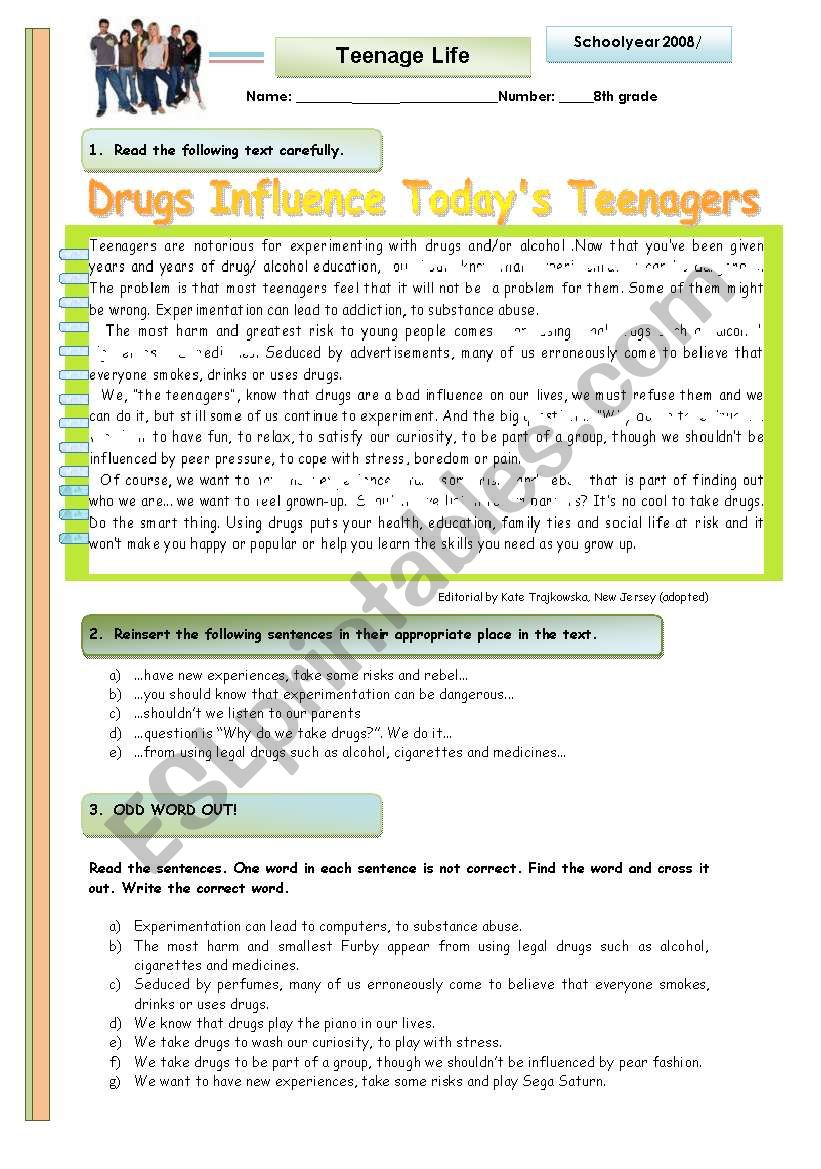 Drugs infuence today´s teenagers