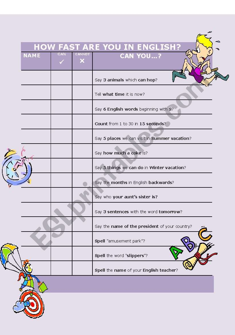 Can you....? worksheet