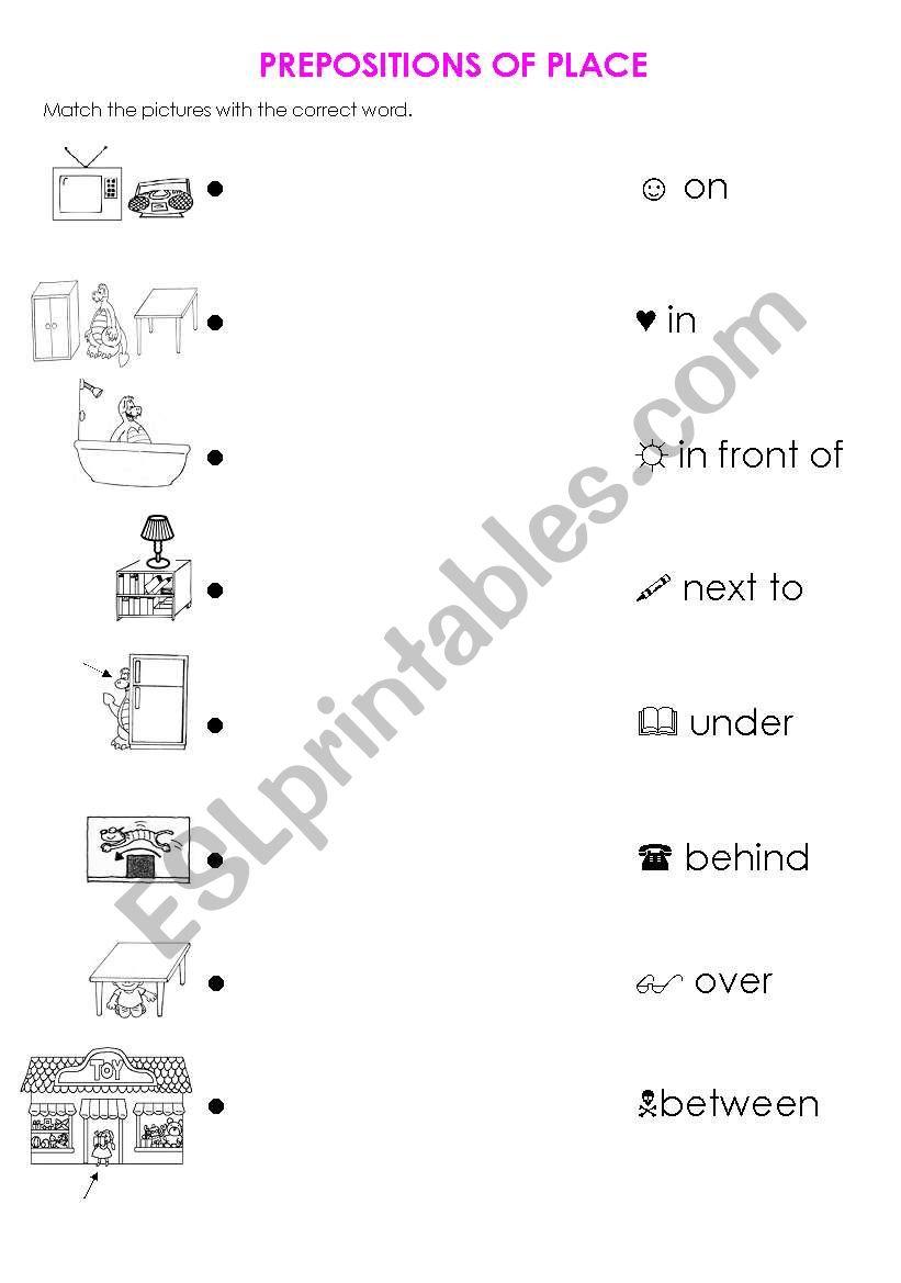 prepositions of place exercises pdf esl