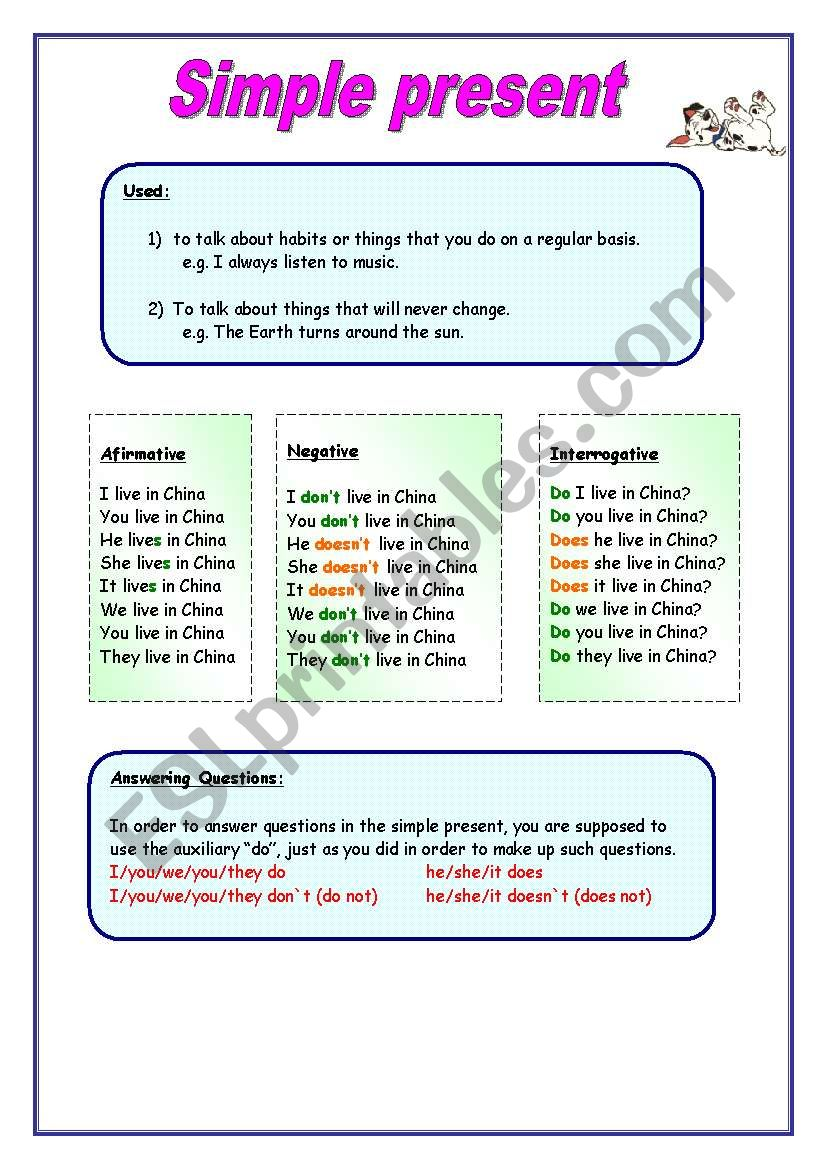 Simple Present Tense - Grammar, song and activities