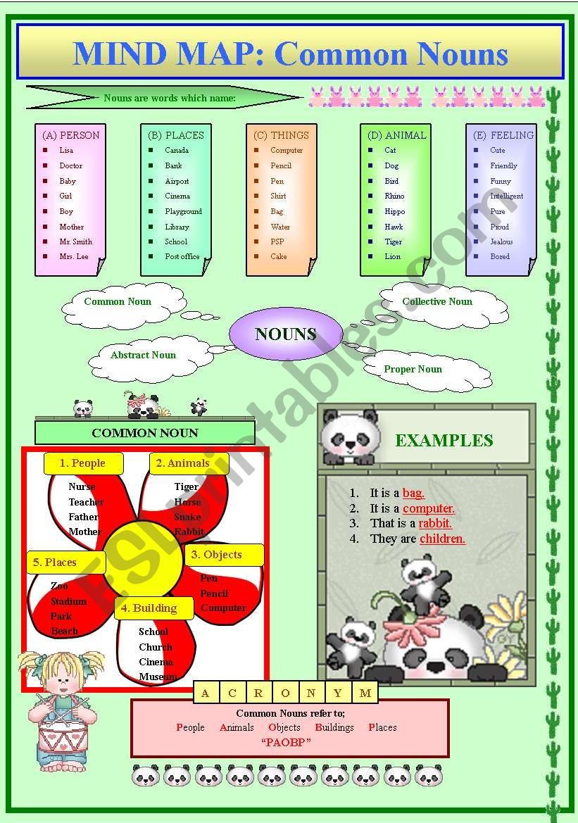 Mind Map on Common Nouns  worksheet