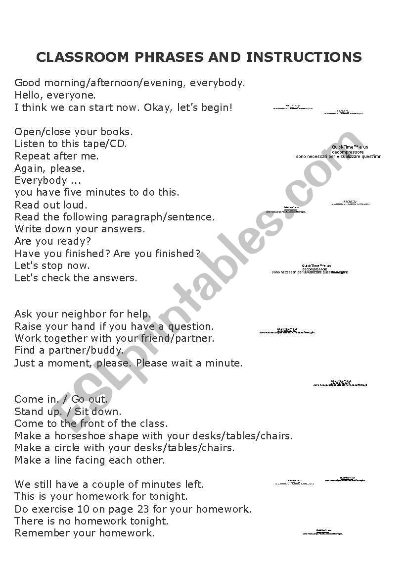 Classroom Phrases and Instructions