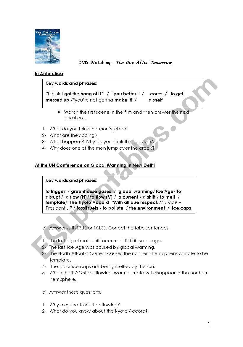 The Day After Tomorrow Worksheet Answers Checks Worksheet