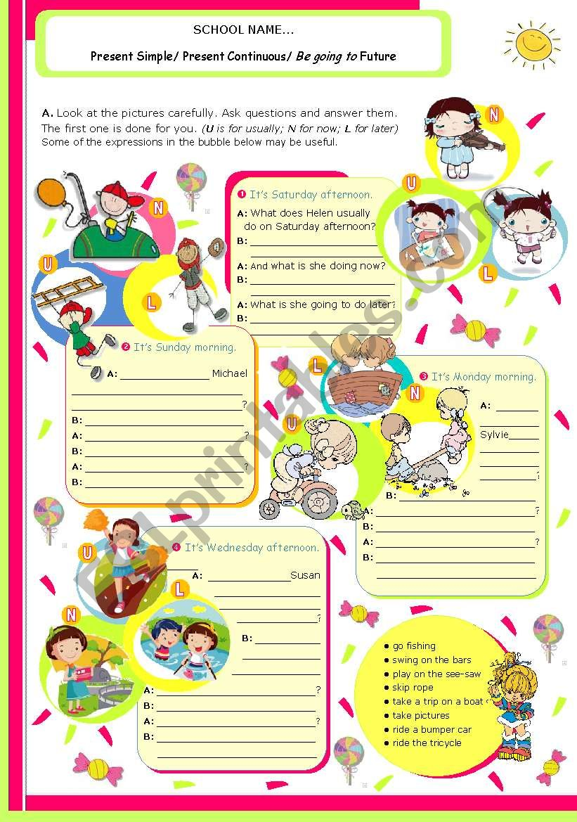 Grammar ws on 3 Verb Tenses: Present Simple, Present Continuous and Be going to Future for Upper Elementary /Intermediate students