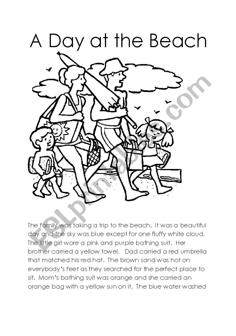 A Day at the Beach worksheet