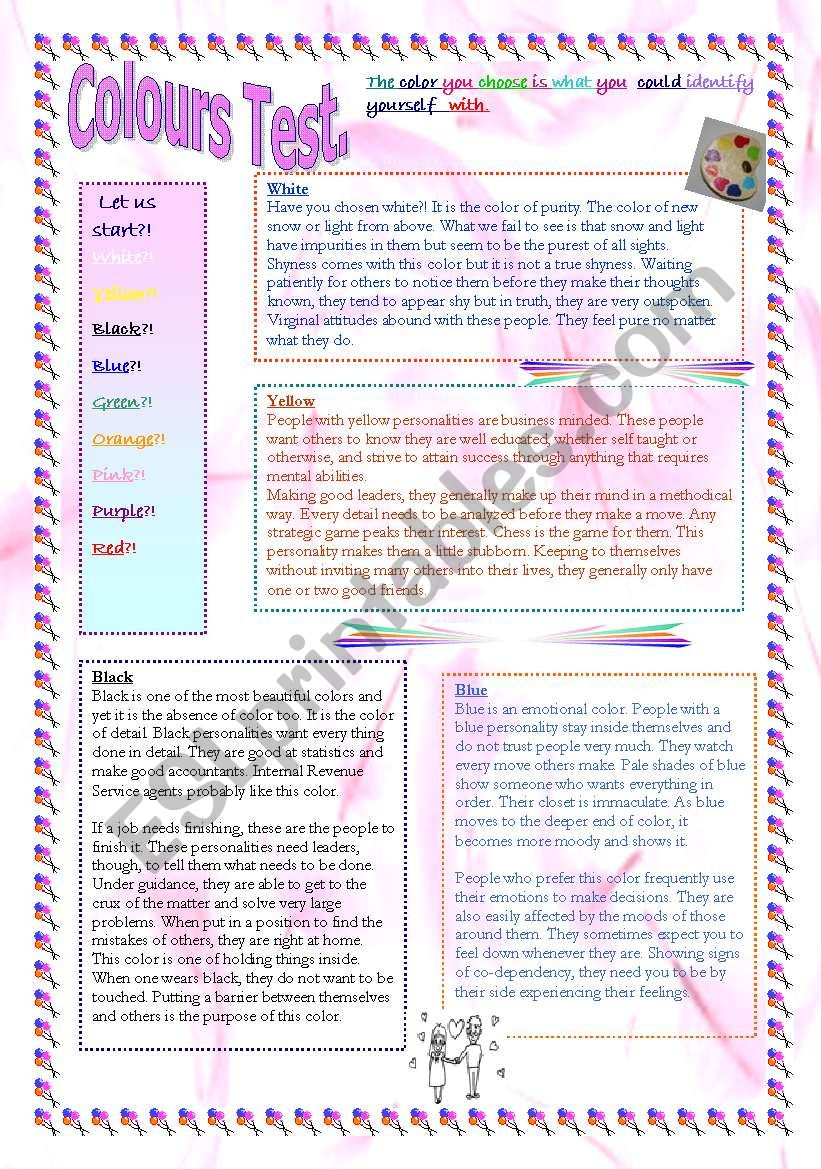 Colours  (personality) test. Everything seems to be completely accurate - let your students try! (2 pages)