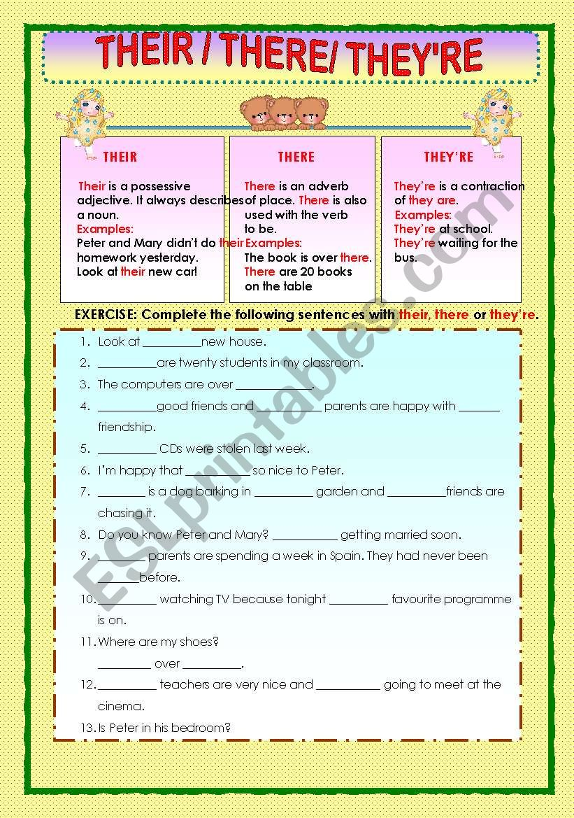 Their There And Theyre Esl Worksheet By Macomabi