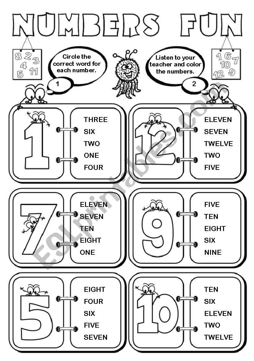 Numbers Fun (1-12) - 2 pages worksheet