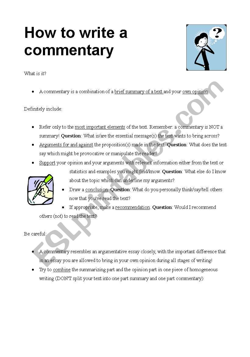 How to write a commentary - ESL worksheet by Tigermaus