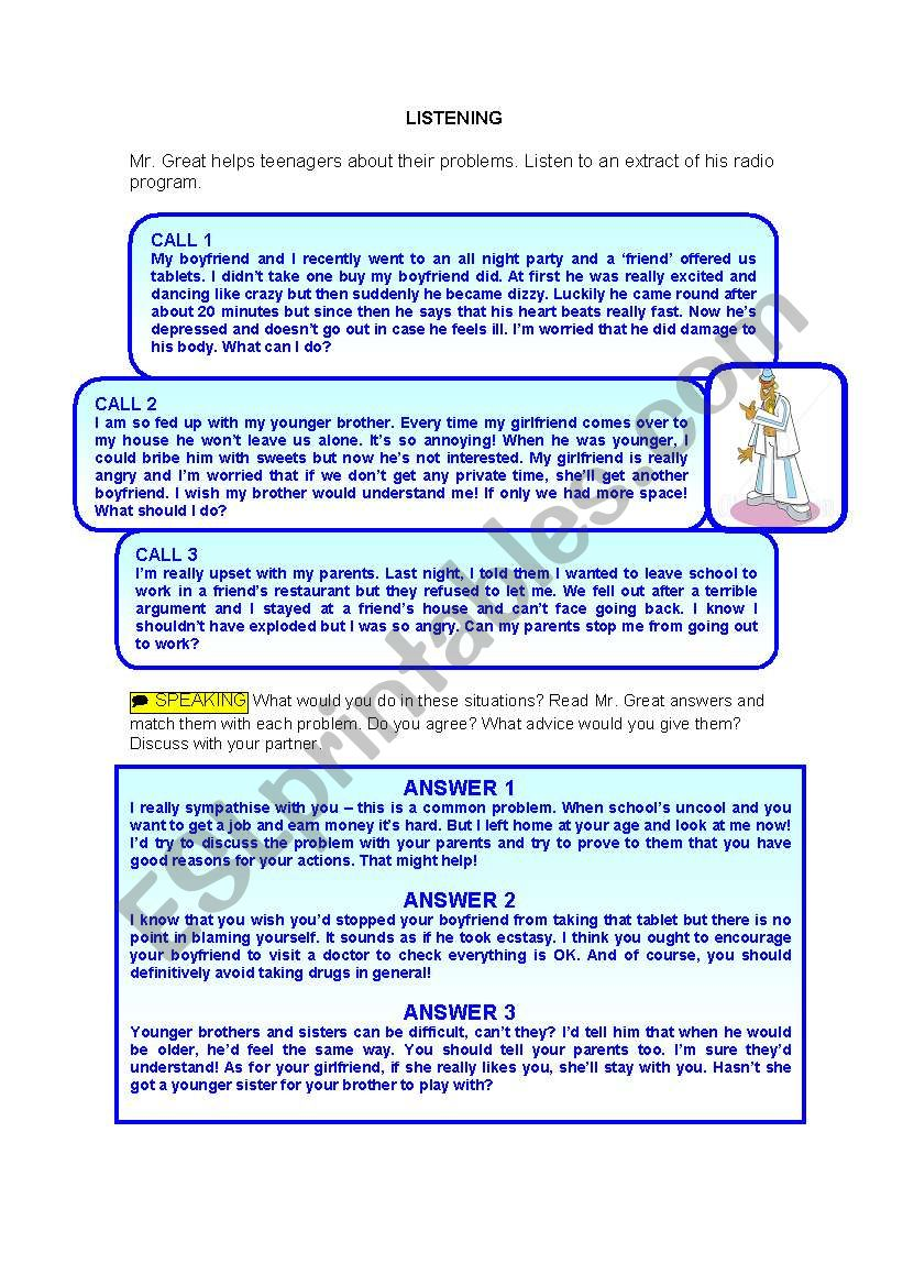 Mr  Great advices - ESL worksheet by Carmina Gomez