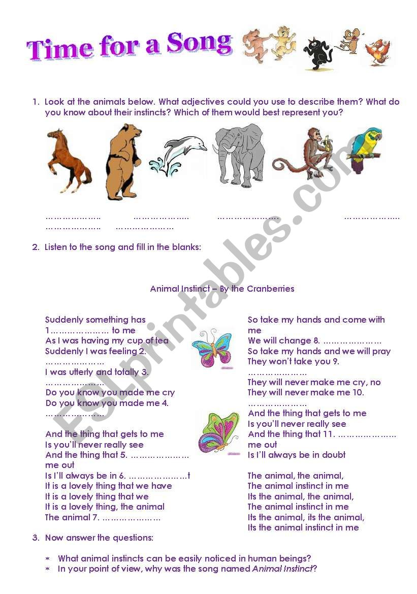 Animal Instinct worksheet