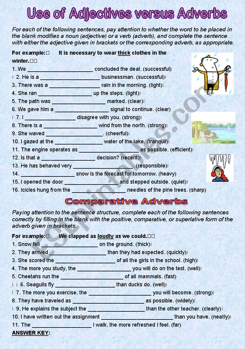 Use of Adjectives and Adverbs worksheet