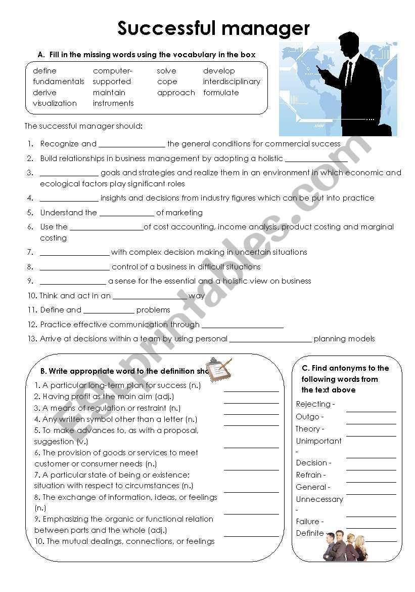 Successful manager worksheet