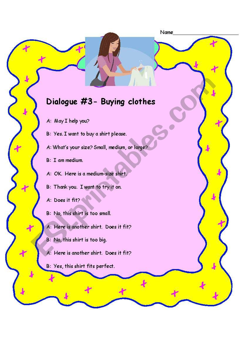 Dialogue- Buying clothes worksheet
