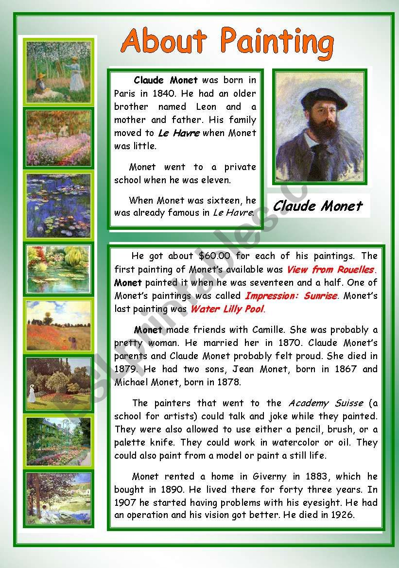 About Painting - Claude Monet worksheet
