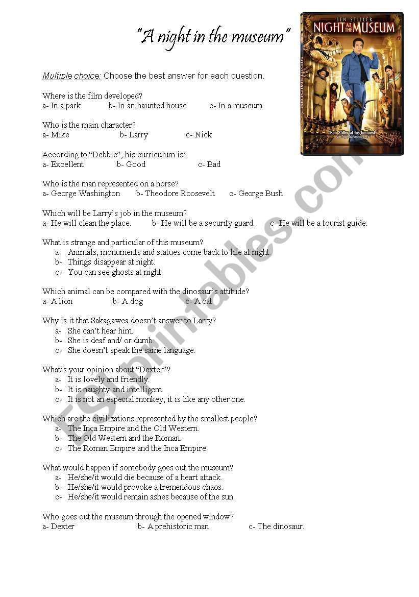 A night at the museum worksheet